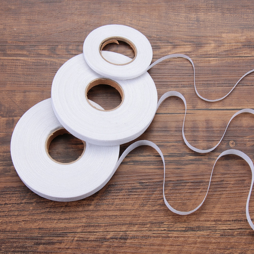 A tela adesiva de dupla face 1/1.5/2cm maravilha o ferro da web na costura adesiva do rolo da tela da fita da bainha 50m