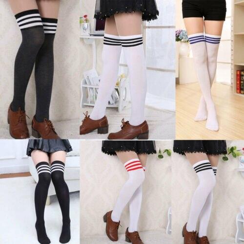 Novo outono inverno meias sexy listrado meias longas das mulheres senhora meninas kawaii bonito opaco malha sobre o joelho coxa-meias altas