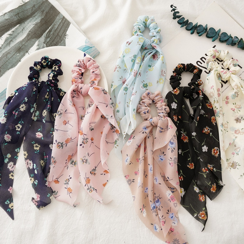 Korean Style Sweet Cute Fashion Hair Ribbons For Girls Floral Scrunchies With Riband Kawaii Hair Bands For Women