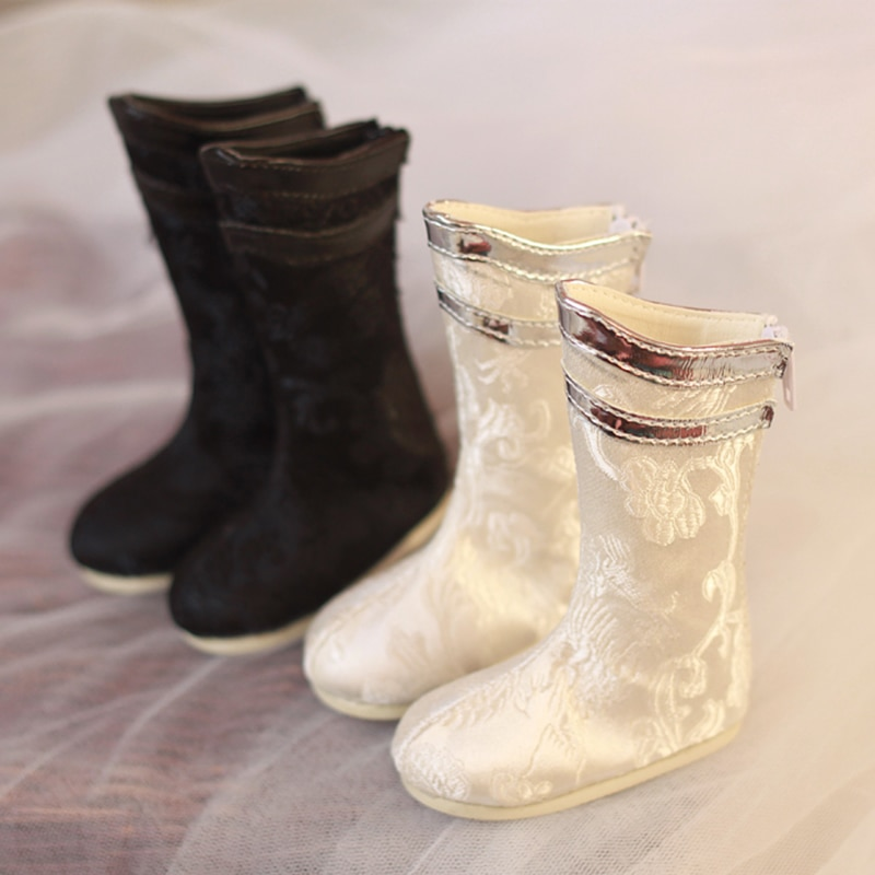 Allaosify BJD shoes 1/4 points 1/3 points boots antique cloth boots antique white/black/red