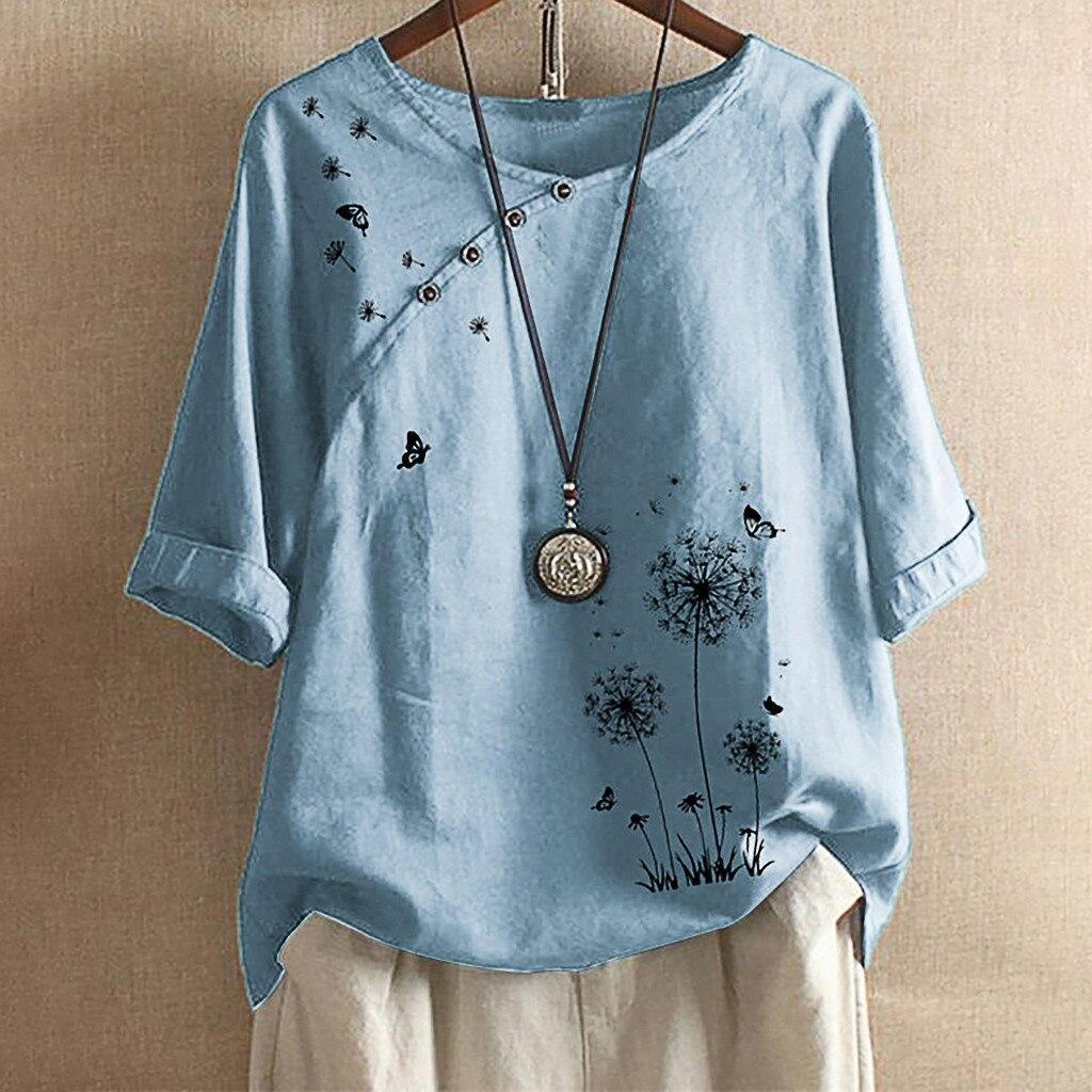 2020 plus Size Blusa Mulheres Borboletas Flor Botão de Impressão Meia Manga Blusas Tops t-shirts para as mulheres блузка
