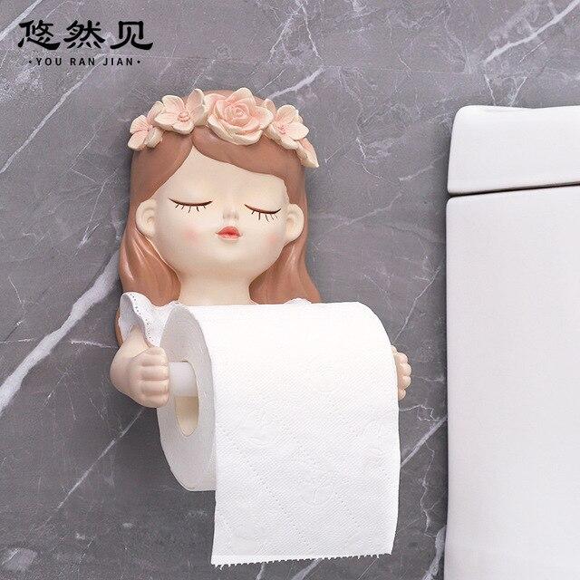 شخصية للرسوم المتحركة فتاة الحرة لكمة الإبداعية لوحة على الحائط لتزيين المنزل الجنية حامل الورق الملفوف جدار معلق صندوق ورق تواليت