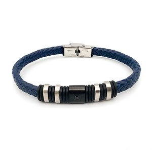 Runda Fashion Men's Wristband Leather Bracelet Blue Black Stainless Steel Jewelry Couple Gift