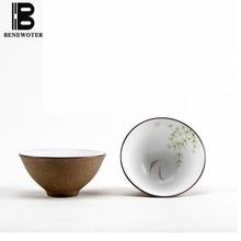 ( Outside Pottery Inside Porcelain ) ( 60/80/100ml ) Jingdezhen Handpainted Lotus Tea Cup Puer Teacup Chinese Kung Fu Tea Set