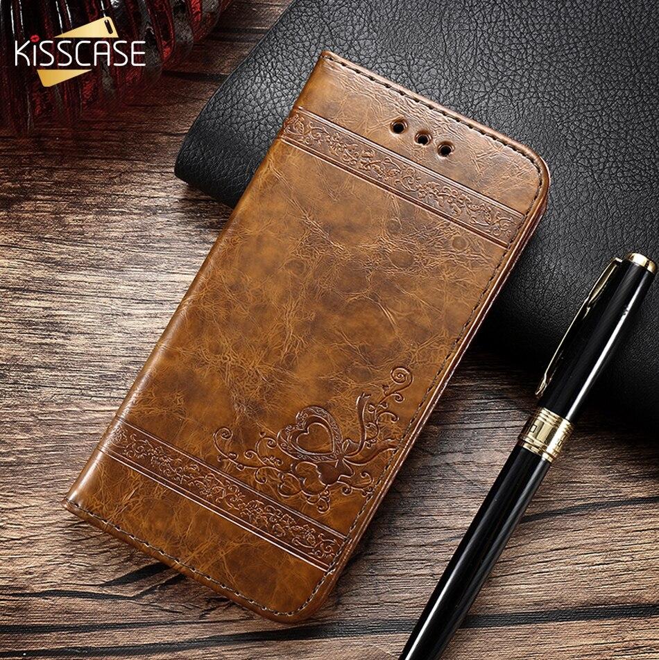 KISSCASE Rétro En Cuir étui pour iphone X 6s 7 Plus 5s Stand étui en polyuréthane thermoplastique Flip étuis pour iphone 5S SE 7 7plus 6s XS Max XR XS 8Plus