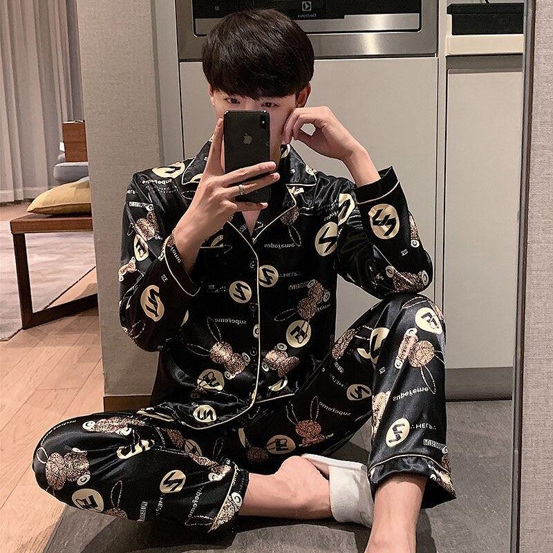 Весна пижама комплект мужские шелк атлас пижамы одежда для сна длинный рукав домашняя одежда плюс размер L-5XL