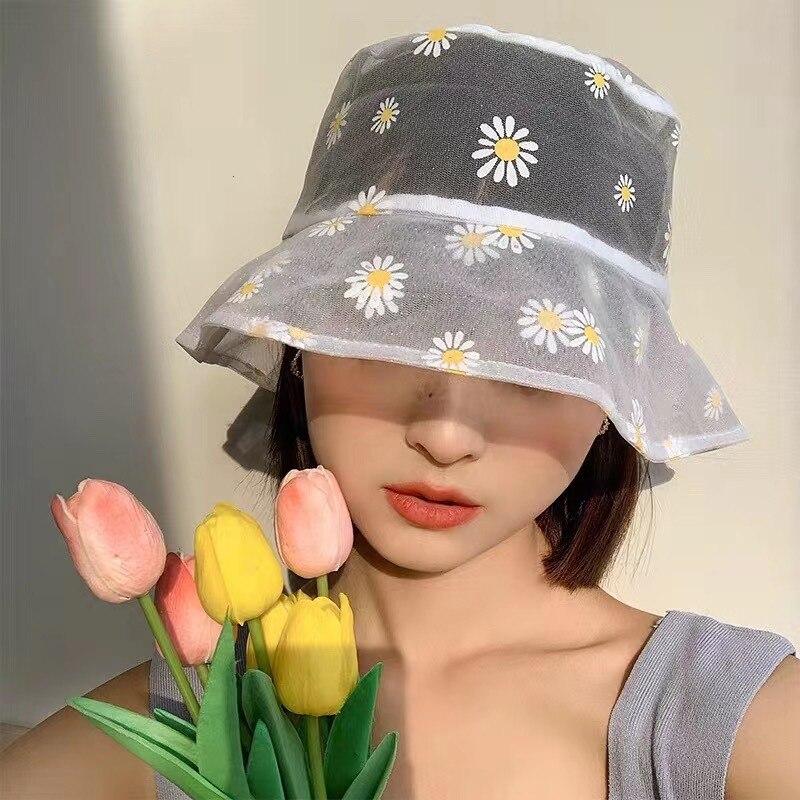 Daisies Embroidered Bucket Hat Women Transparent Panama Women Lace Flower Bucket hat kapelusz rybacki Women sombrero margaritas