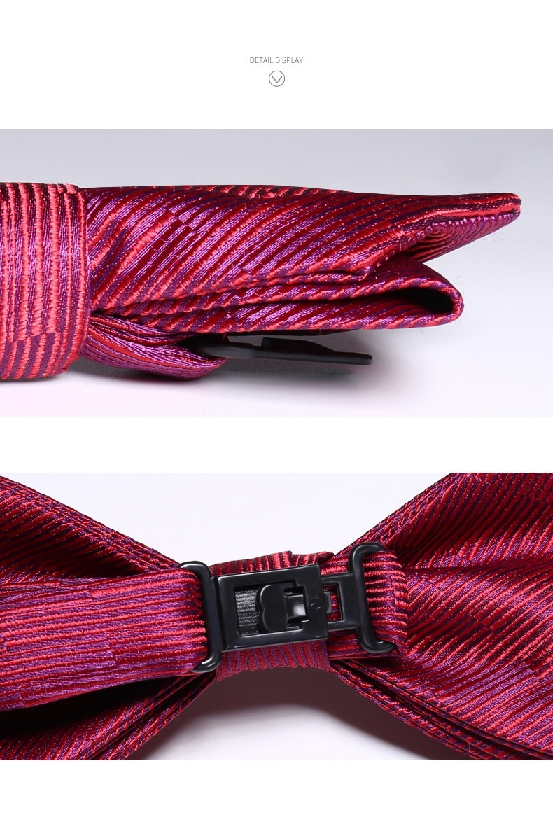 2020 Brand New Fashion Men's Bow Ties Double Fabric Striped Pink Purple Bowtie Banquet Wedding Host Butterfly Tie with Gift Box