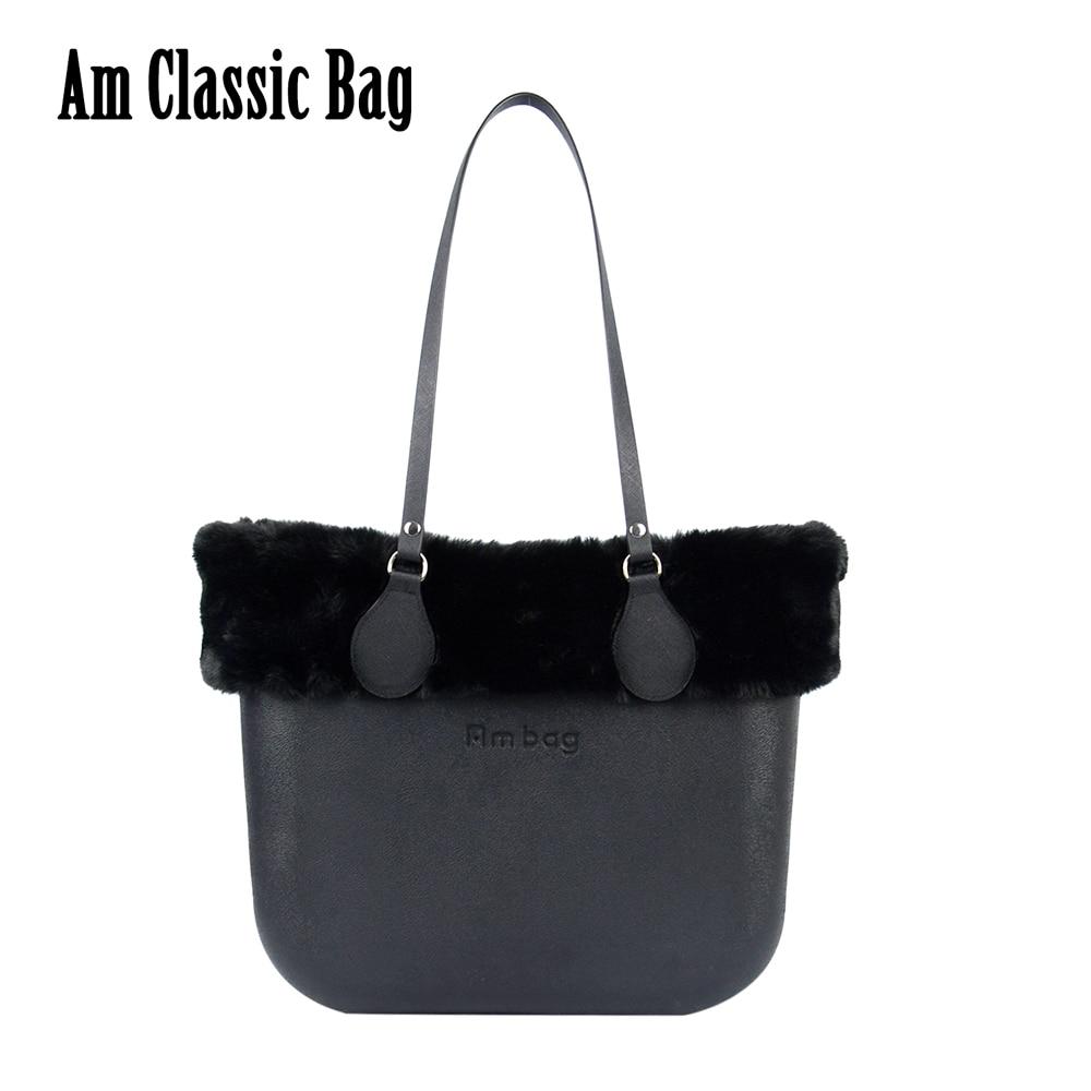 New Winter Women DIY Handbag Big Ambag Obag O bag Waterproof Classic with Canvas Inner Long PU Leather Handles Fur Plush Trim