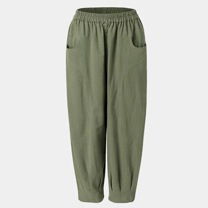 Pockets Causal Loose Cotton Linen Harem Pants Women Elastic Waist Overalls Trousers pantalon femme
