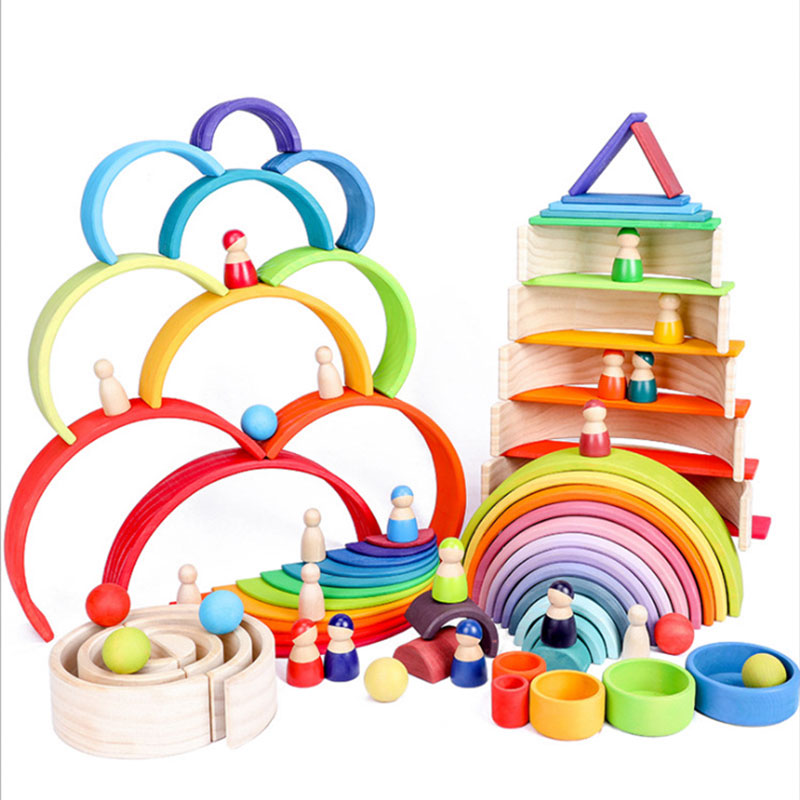 Montessori Toys Building Rainbow Wooden Educational Stacking For Children Kids