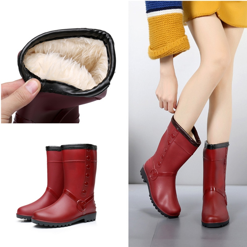 SWONCO Winter Plush Fur Rubber Boots Woman Warm Shoes Winter 2019 Female Ankle Boots Waterproof Rainboots Casual Ankle Boot Lady