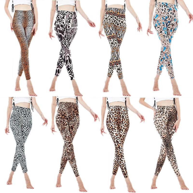 Сексуальные леопардовые легинсы, эластичные Укороченные легинсы с рисунком животных, женские спортивные брюки