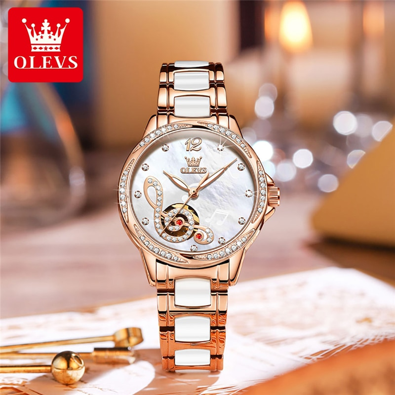 OLEVS Women Watches Top Brand Luxury Fashion Ladies Automatic Watch Rose Gold Stainless Steel Ceramics Mechanical Wristwatch enlarge