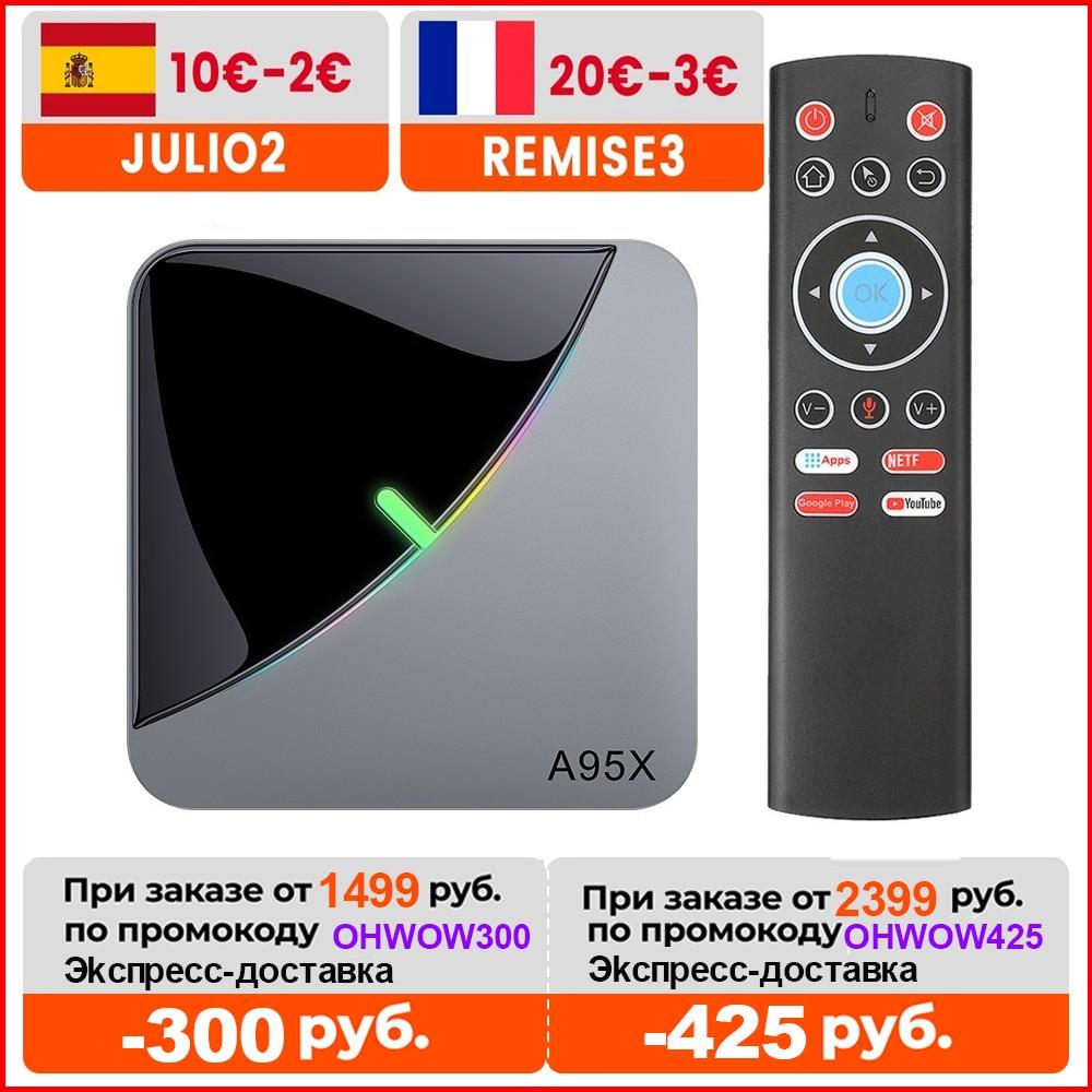 A95X F3 الهواء RGB ضوء التلفزيون مربع الروبوت 9.0 Amlogic S905X3 8K 4GB 64GB Wifi H.265 4K 60fps YoutubeTVBOX الروبوت 9 A95XF3