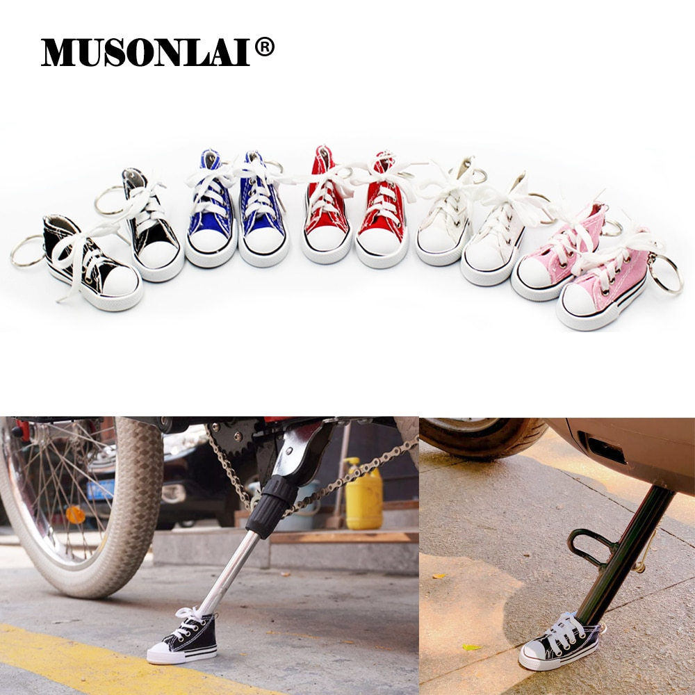 Fashion Motorcycle Scooter Side Stand Pad Kickstand Canvas Shoes Keychain Keyring Electric Bike Bicy