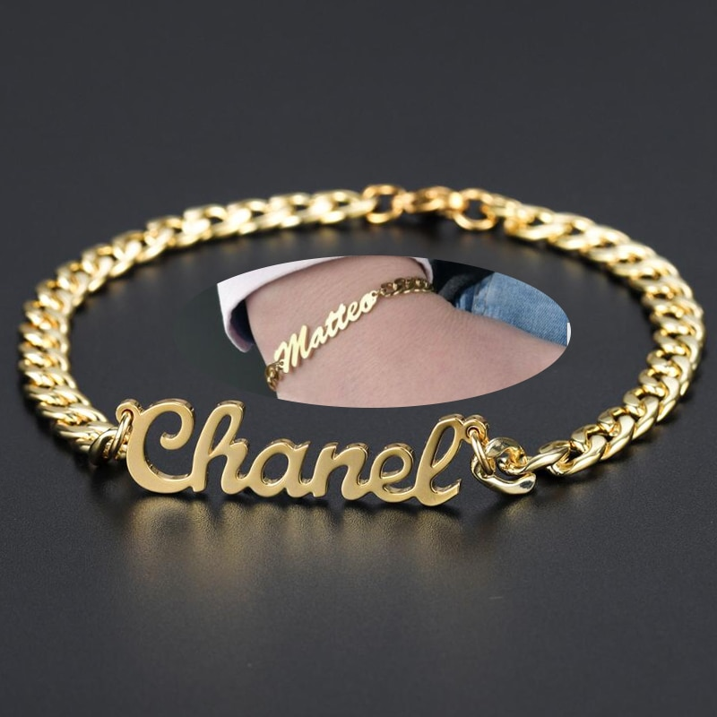 Custom Name Bracelet Gold Stainless Steel Jewelry Personalized Bracelet For Women Men DoNot Fade Cuban Chain Bangle Charms Gift недорого
