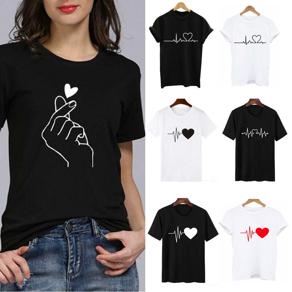 2021 New Women T-shirts Casual Harajuku Love Printed Tops Tee Summer Female T shirt Short Sleeve T shirt For Women Clothing