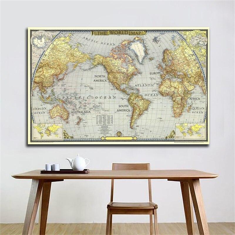 Mapa del Mundo Mundial 1943 A2 59*42cm sin marco, póster de Atlas World, adhesivo con diseño de mapa para pared, decoración para el hogar, oficina, suministros escolares