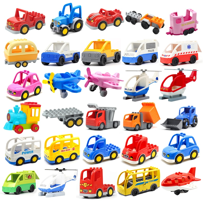 AliExpress - Car Aircraft Model Big Building Blocks Engineering Vehicle Accessories Bus Helicopter Compatible brick Traffic Set Children Toys