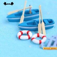 6 unids/set Mini lindo barco modelo juguetes azul barco paleta modelo conjunto de juguetes educativos de madera para niños