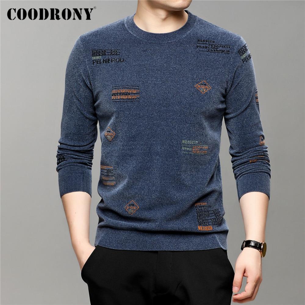 COODRONY – pull en maille à col rond pour homme, vêtement de marque en Chenille, doux et chaud, nouvelle collection automne hiver, C1333