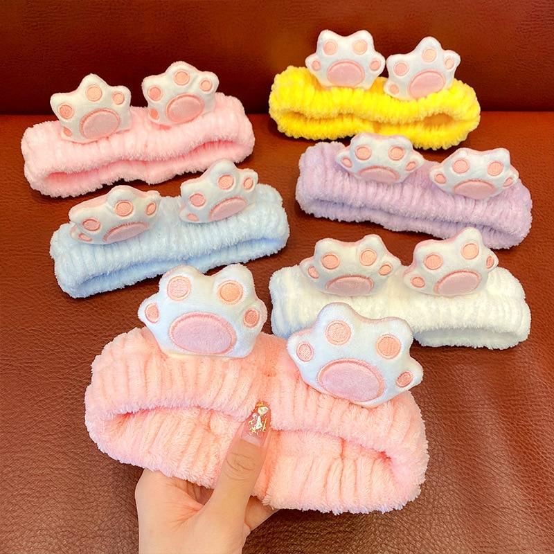 Cute Cat Paw Coral Fleece Headband For Women Girls Soft Warm Hair Band Headwear Face Washing Makeup