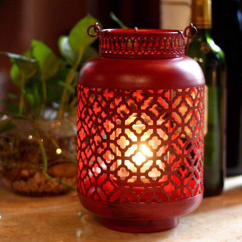 Portavelas hueco de Metal chino, candelabro romántico rojo Vintage, soporte Para sala de estar Para Vela, decoración China MM60ZT