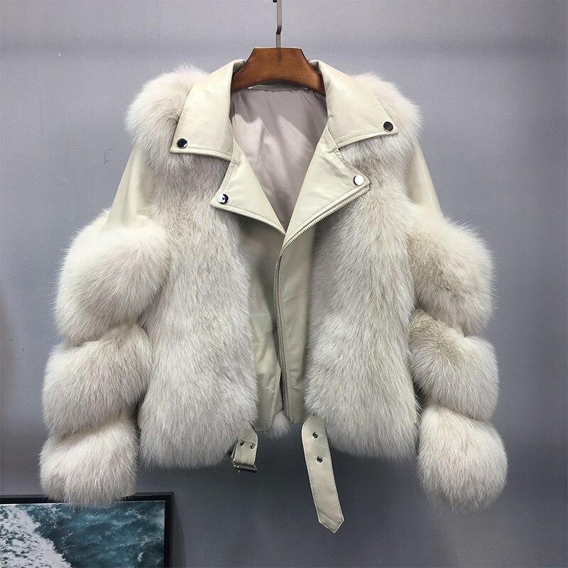 whole fur coat short Fashion motorcycle fur fur fox fur Haining 2020 net red fur coat woman фото