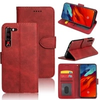 mks case for lenovo z6 pro cover case plain leather wallets flip magnetic book case with id card slot