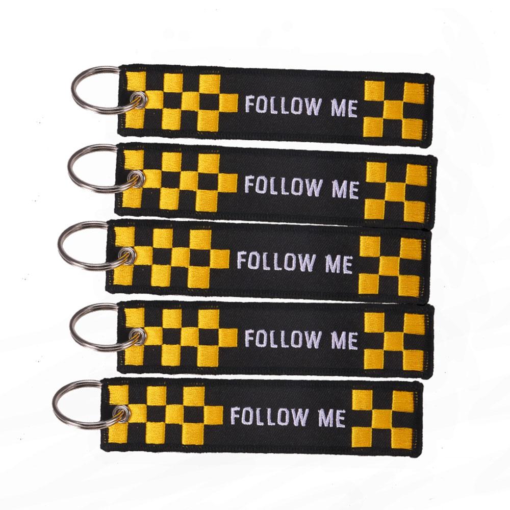 Брелок с вышивкой 5 шт./лот Follow Me, модный брелок для автомобильных ключей, брелок для ключей с вышивкой, оптовая продажа, автомобильный брелок