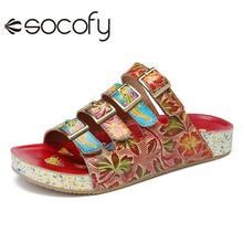 SOCOFY femmes bohême Style cuir chaussures boucle florale fond épais tongs sandales décontracté en plein air plage pantoufles chaussures 2020