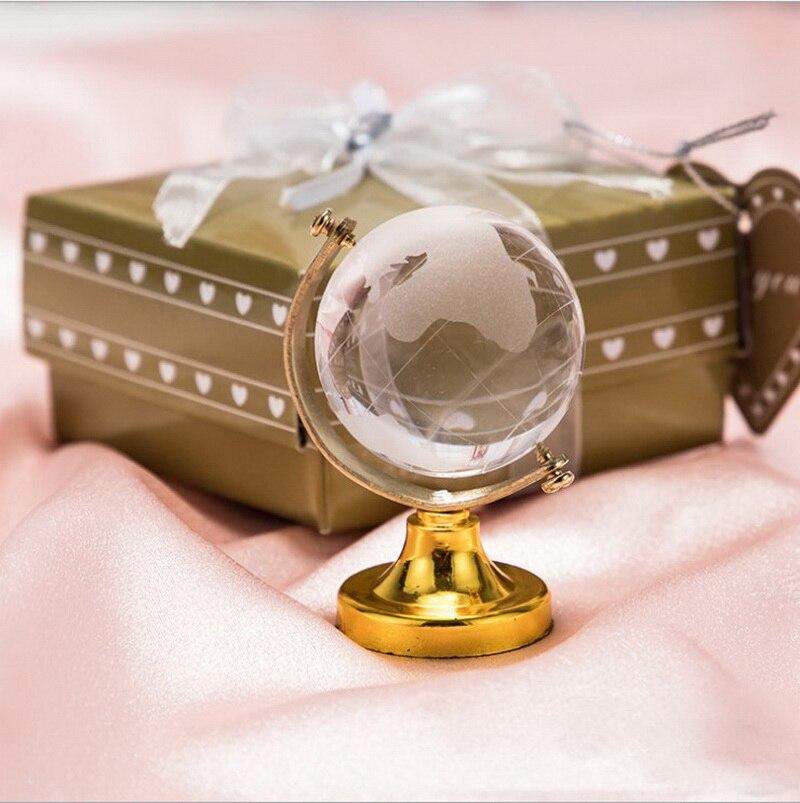 60 قطعة كرة بلورية مستديرة مع قاعدة ذهبية الوجهة هدايا الزفاف ثقالة ورق كريستالية حفلة هدايا للضيوف