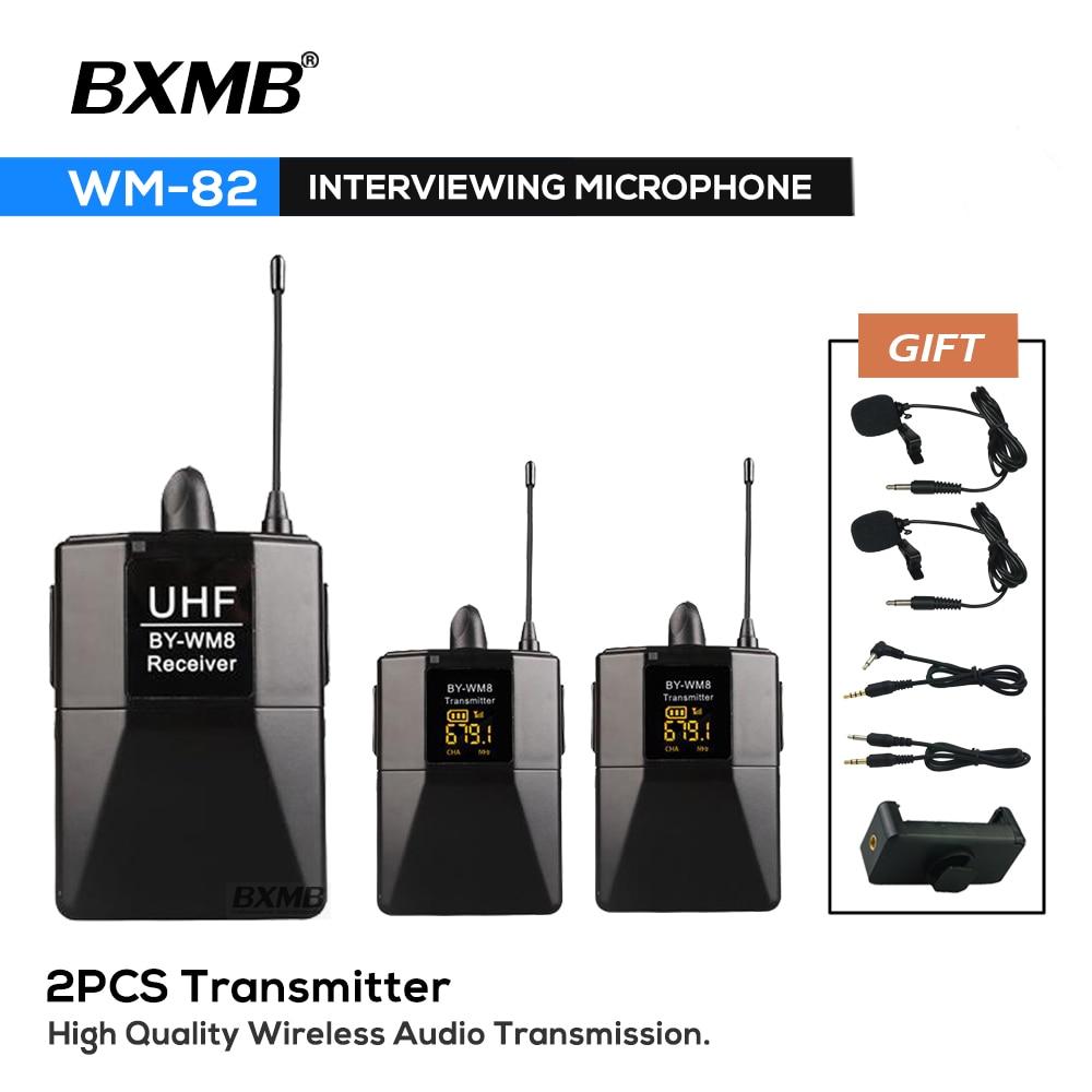 WM8-2 المهنية DSLR كاميرا ميكروفون لاسلكي نظام WM8 استقبال مع 2 قطعة Bodypack الارسال التلبيب Mic تسجيل الفيديو