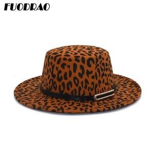 FUODRAO New Leopard Print Flat Top Bowler Hat Winter Autumn Wool Fedora Hat Women Wide Brim Vintage Elegant Lady Jazz Hats P23