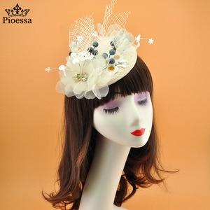 Evening Dress Bowler Hat Women's British Retro Mesh Hair Ornament Banquet Dress Photography Photo Show Head Ornament Top Hat