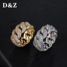 D & Z cubain lien chaîne anneau hommes Hip Hop or couleur glacé cubique Zircon bijoux anneaux 8 9 10 11 cinq taille