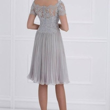 Knee length ruched chiffon mother of the bride dresses v neck lace short sleeves wedding party gowns