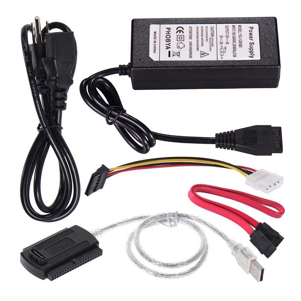 """האיחוד האירופי ארה""""ב USB 2.0 כדי 2.5 """"3.5"""" SATA PATA IDE כונן מתאם ממיר כבל עבור כונן קשיח דיסק HDD עם חיצוני AC חשמל מתאם"""