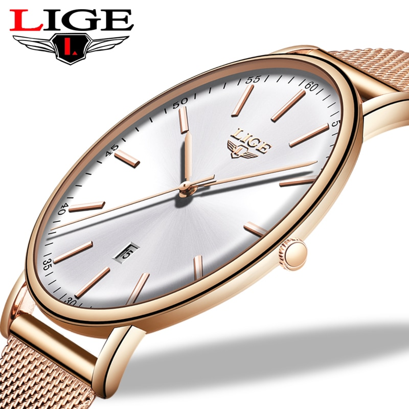Top Brand LIGE Luxury Waterproof Watch Womens Watches  Fashion Ladies Stainless Steel Ultra-Thin Casual Wristwatch Quartz Clock enlarge