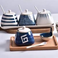 creative ceramic seasoning tank japanese seasoning tank pepper soy sauce storage jar kitchen condiment storage container kitchen