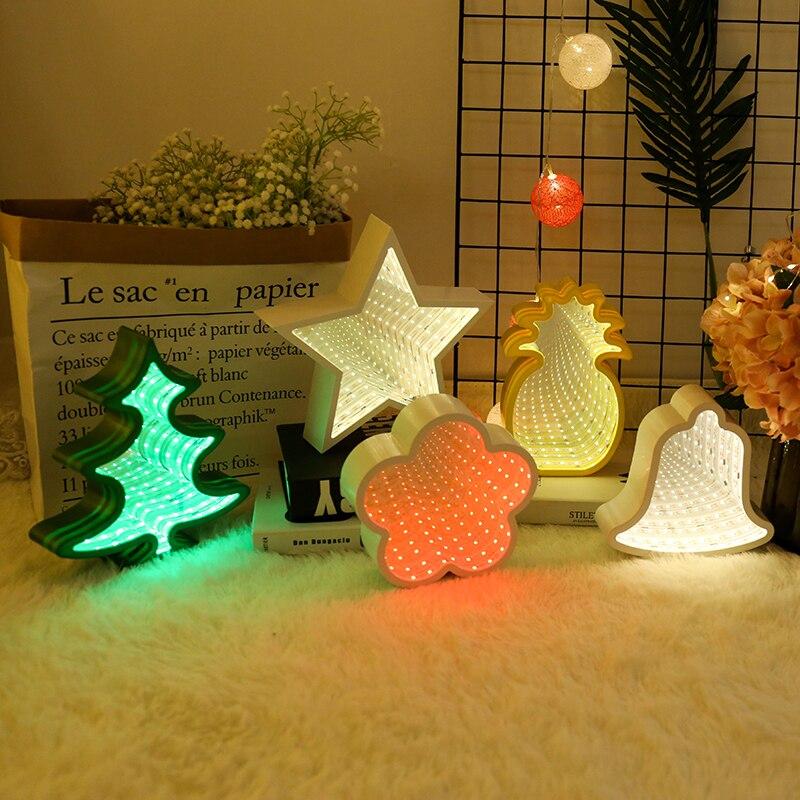 Novel led night table light espelho rosto led coração nuvem abacaxi luz para o presente da criança quarto festival decoração diária