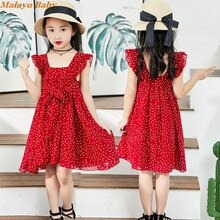 Malayu Baby Girls Dress Brand Kids Clothes Summer New Sleeveless Polka dot red dress Clothes For Girls Princess vestido 2-6 Year