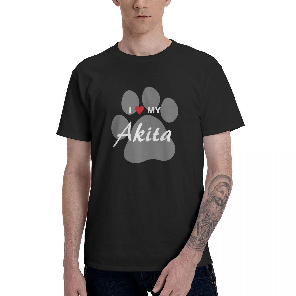 I Love (Heart) My Akita Paw Print Graphic Tee Men's Basic Short Sleeve T-Shirt Funny Tops kids sequins heart graphic tee