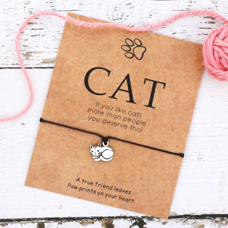 Браслет дружбы в виде кошки, украшение в виде кошки, Ранняя дружба, карточка желаний, браслет с подвесками в виде кошки, новые браслеты для друзей, домашних животных, мам, сувениры, подарки для кошек Плетеные браслеты      АлиЭкспресс
