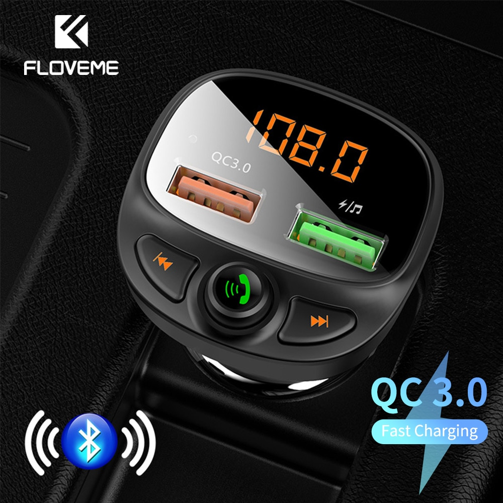 FLOVEME-cargador USB para coche, dispositivo de carga rápida 3,0, Bluetooth, transmisor inalámbrico...