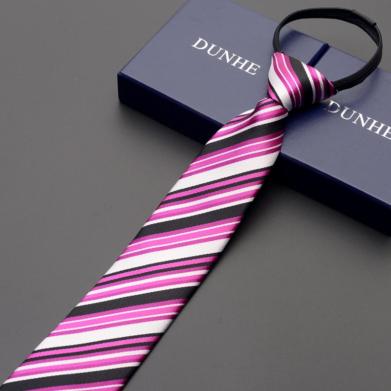 High Quality 2019 New Designers Brands Fashion Business Casual 7cm Slim Ties for Men Striped Zipper Necktie Office with Gift Box