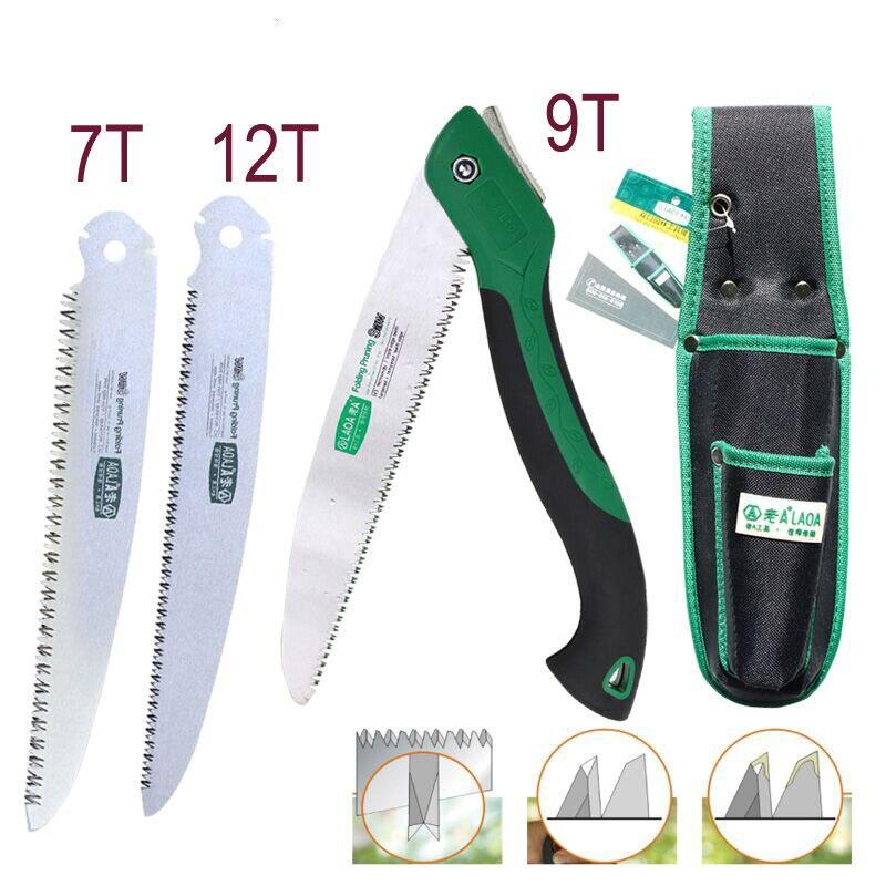 Laoa portátil dobrável serra 7 t/12 t hand saw 250mm tesouras de poda serra ferramenta de jardinagem caça implementar