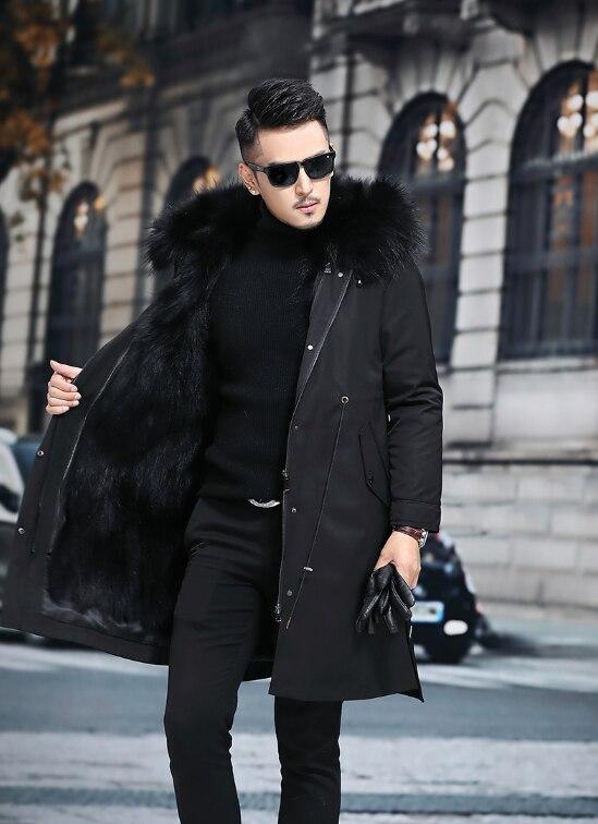 سترة جلدية باركا للرجال ، معطف فرو منسوج بغطاء للرأس متوسط الطول ، مجموعة جديدة