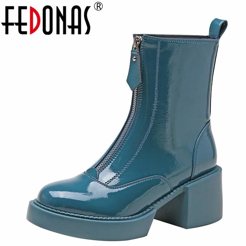 FEDONAS 2021 الخريف الشتاء النساء حذاء من الجلد الموضة موجزة براءات الاختراع والجلود الجبهة سستة سميكة الكعوب منصات أحذية امرأة جديد